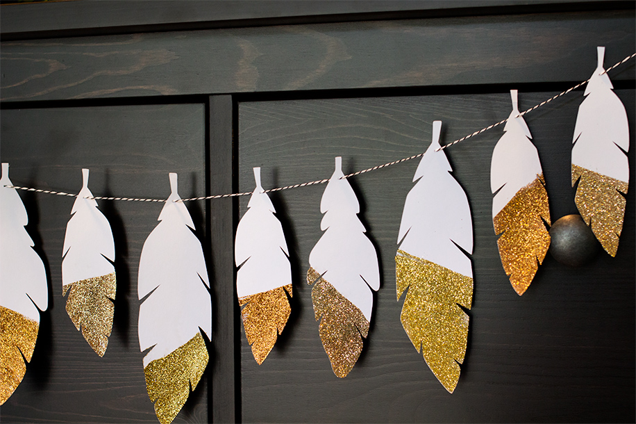DIY Glitter Feather Garland