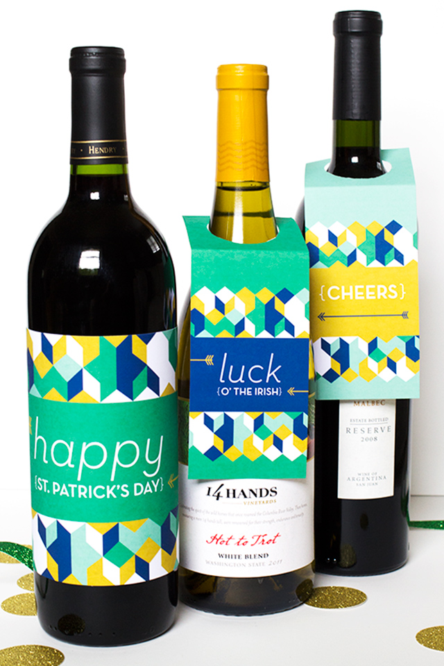 Free Printable St. Patrick's Day Wine or Liquor Bottle Labels