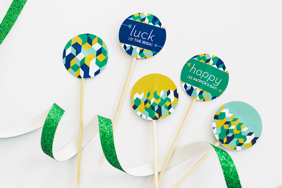 Free Printable St. Patrick's Day Toothpick Toppers