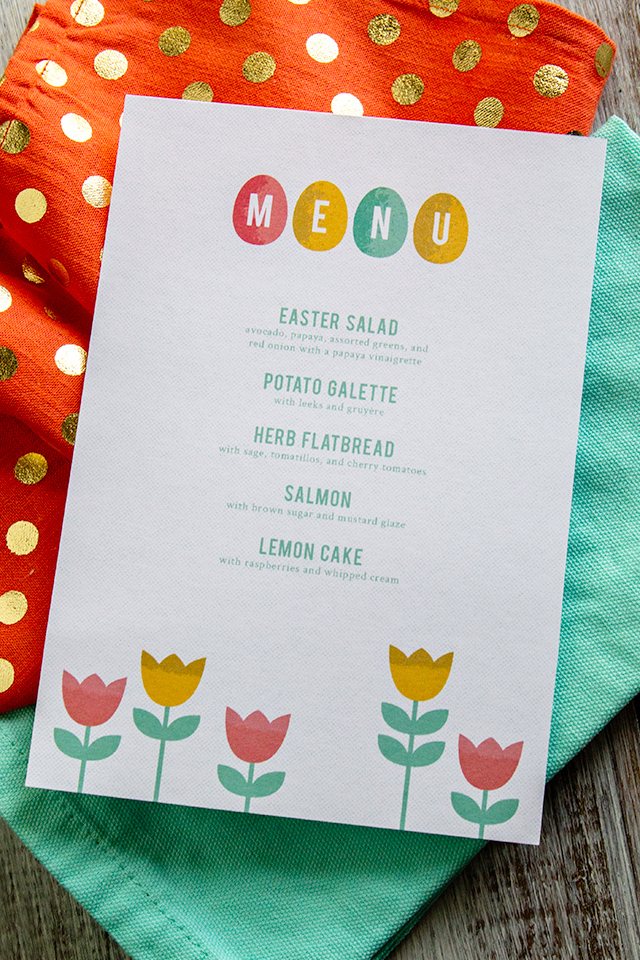 Free printable Easter menus. Perfect for your Easter dinner or brunch!