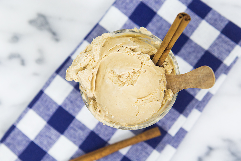 The shortcut to delicious no-cook chai ice cream is using Trader Joe's Spicy Chai Tea Mix. This recipe is perfect for enjoying your favorite fall drink year round.