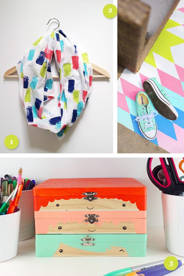 A little paint goes a long way and these fun projects are proof! Learn how to use bright paint to make an infinity scarf, an outdoor rug and these cute box heads.