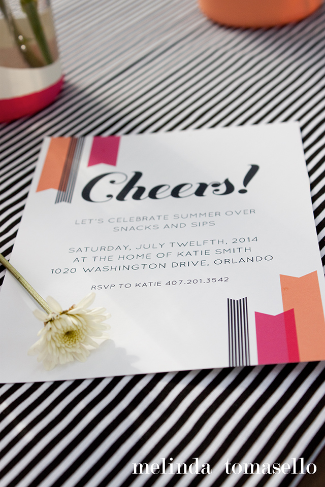 Cheers! Download the free printable invitation template and use it at your summer party or for a girl's night out.