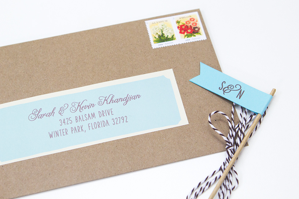 Kraft paper envelopes with simple address label wraps.