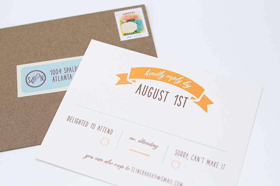 RSVP cards don't have to be formal and stuffy. Loving the wording on this one!
