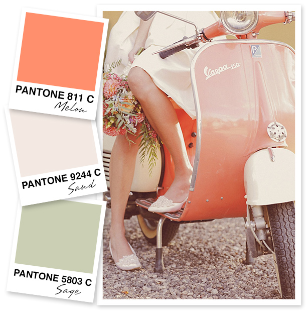 Need some color inspiration? This melony coral color pairs perfectly with sand and sage.