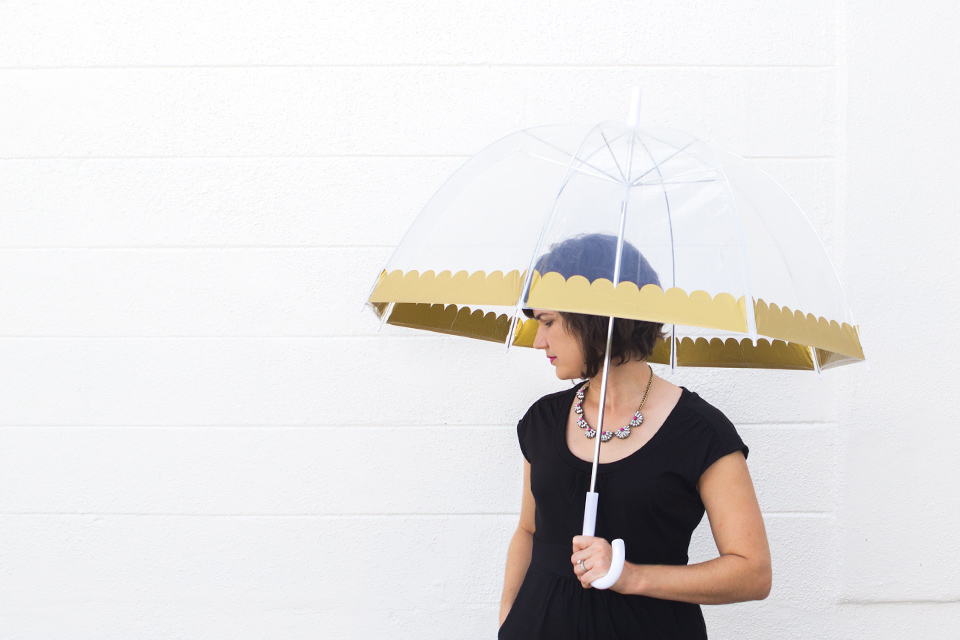 Use a Silhouette or a Cricut Explore to dress up a clear bubble umbrella. Click through for free templates.