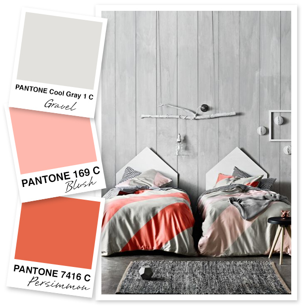This color palette is the perfect way to transition from summer to fall! Pink and coral get toned done with a subtle gray gravel color. Would be perfect for a modern nursery or even a fall wedding!