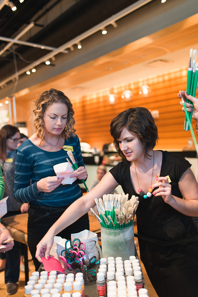 Meet + Make is a craft workshop hosted by Sarah Hearts at West Elm Orlando. Here's a photo from the October 2014 workshop.