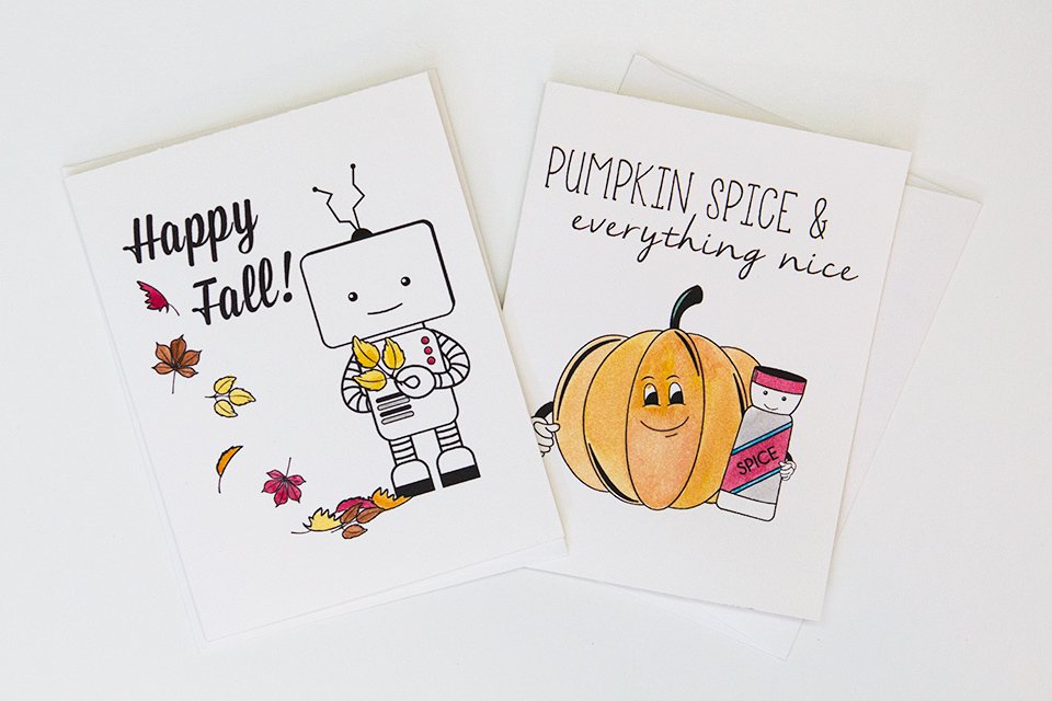 Pumpkin spice and everything nice! Cards hand illustrated by Bright Light Paper.