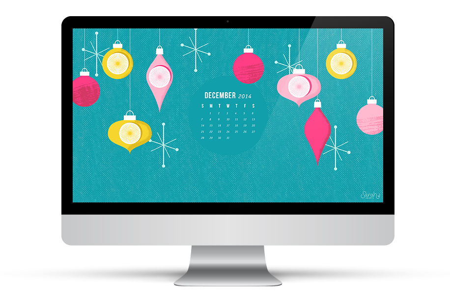 Tis the season to decorate your desktop! Download this retro inspired wallpaper with or without a calendar.