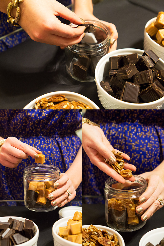 DIY turtle candy in a jar—such a fun idea for holiday gifting!