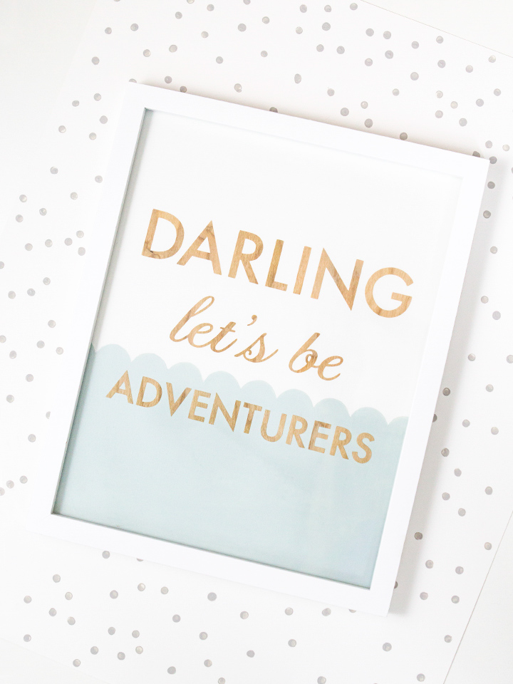Darling Let's Be Adventurers! Love this wood art piece by Sarah Hearts. Click through to download the cut file to make your own or order one from Sarah.