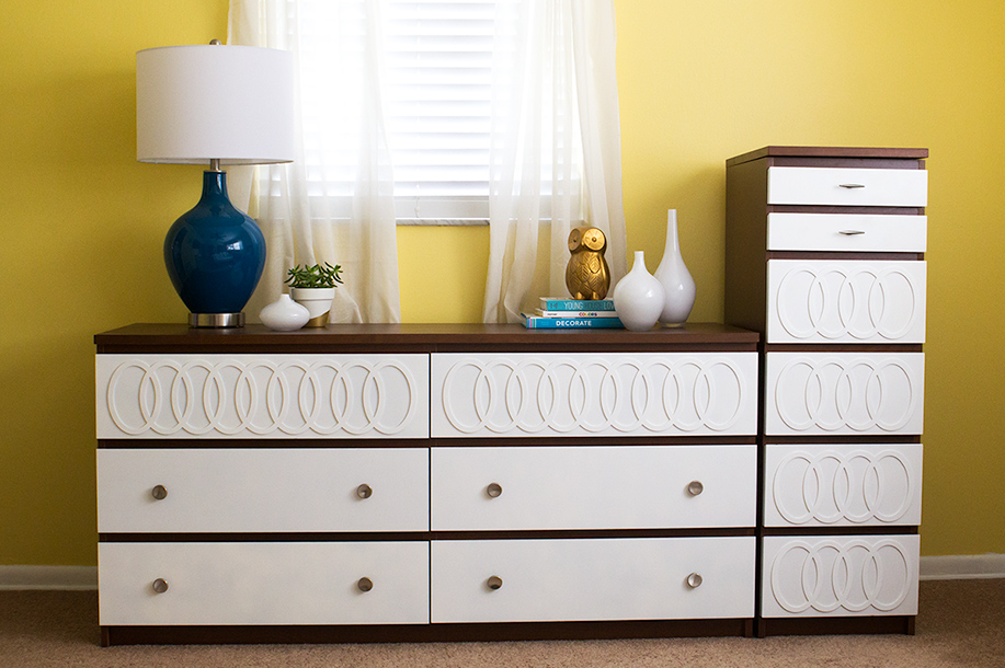Update and Ikea Malm dresser to look like a mid-century modern piece.