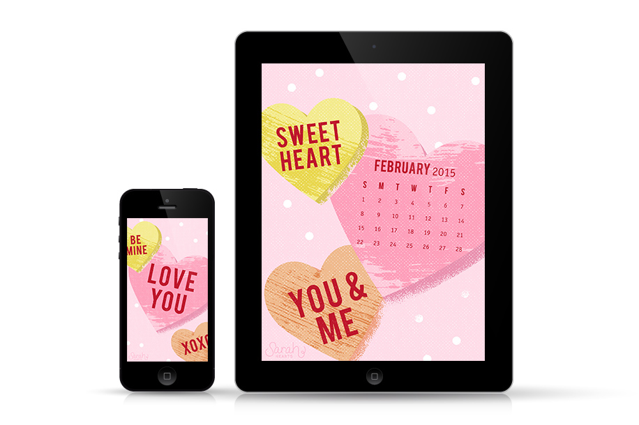 Take your love with you wherever you go with this free Valentine's Day wallpaper. Available with and without a calendar.