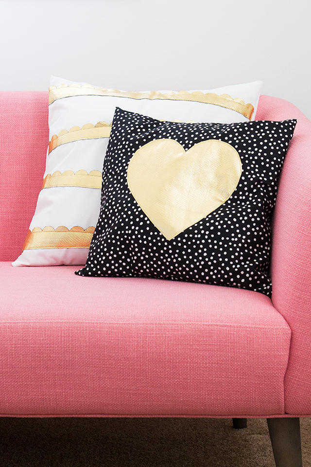 Rethink pleather and make these adorable heart and scalloped gold throw pillows.