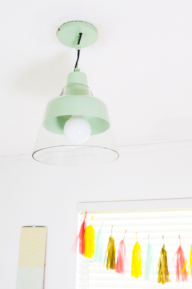 This mint green pendant light is the perfect blend of retro and modern.