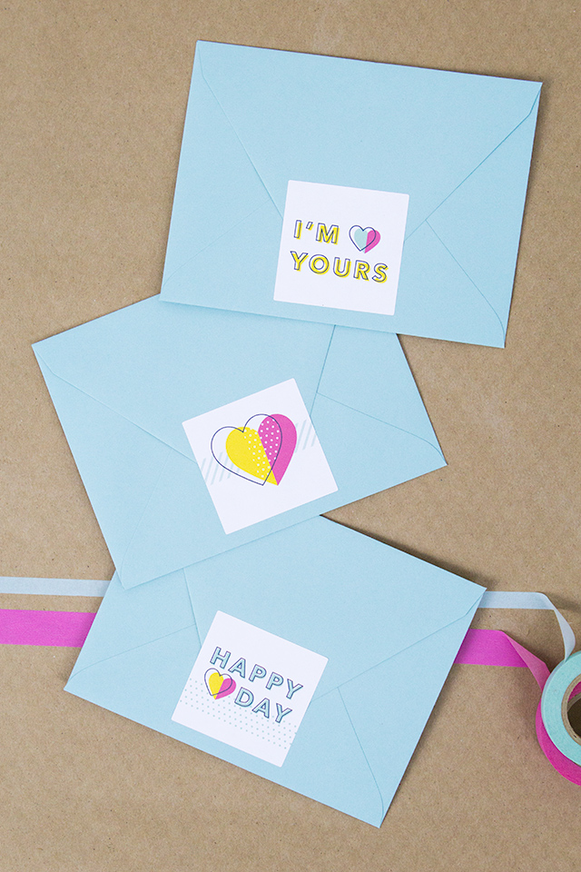 These free printable stickers are perfect for sealing Valentine's Day notes!
