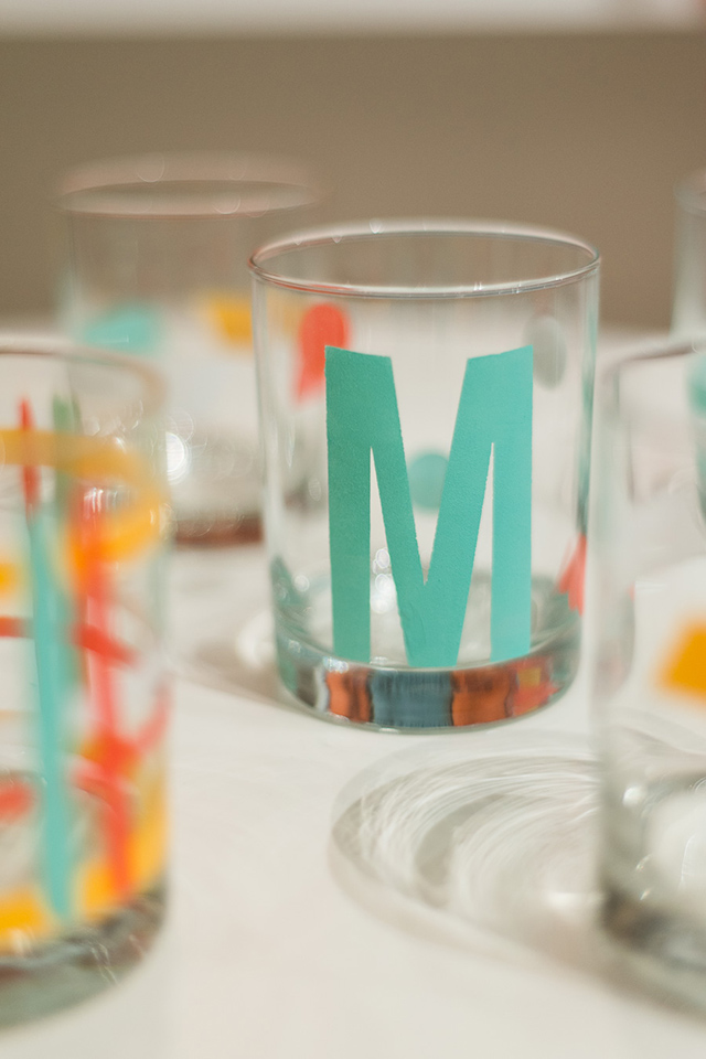 Love these brightly painted mint, coral and yellow drinking glasses. Such a fun project to create at Meet and Make.