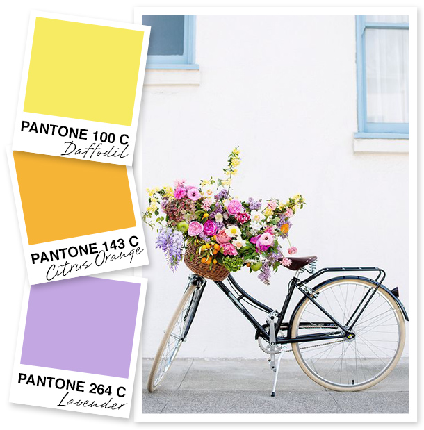 There's no better time than summer for bright yellows and cheery oranges. But don't forget to accent your favorite sun-inspired hues with a little extra pop like the bright lavender used in this fun palette.