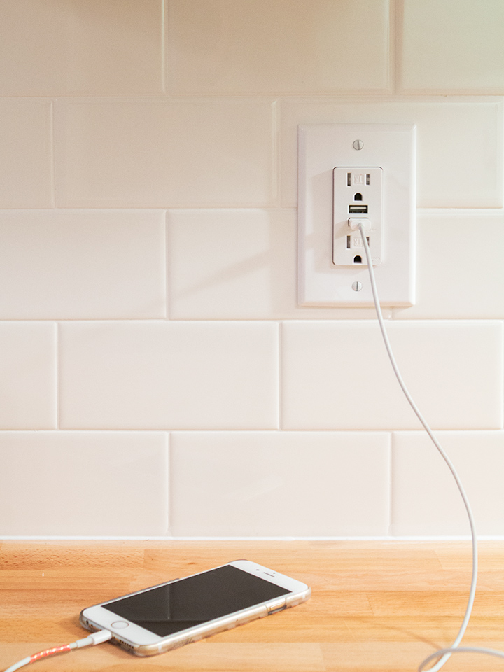 Wall outlets with USB ports make for convenient charing stations throughout the home.