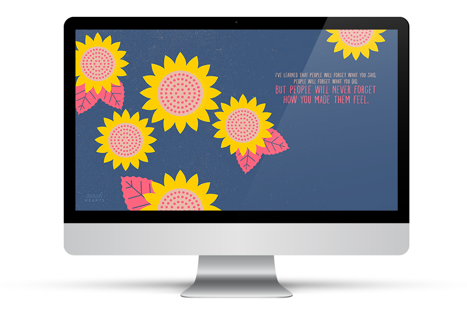 Add some inspiration to your desktop with this free Maya Angelou wallpaper from sarahhearts.com (click through to get it for all your devices)