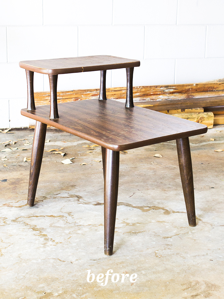 See what this mid-century side table looks like after an easy but so stylish makeover!