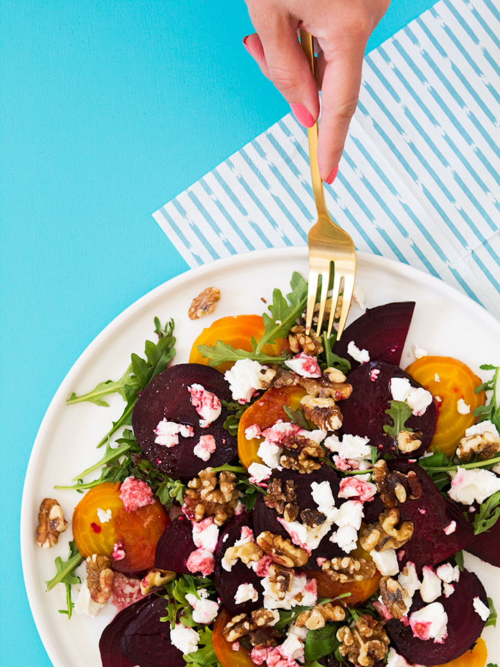 Yum! Cannot wait to try this beet salad with goat cheese, walnuts, and arugula. The orange beet balsamic vinaigrette is the perfect dressing for this salad or your favorite greens.