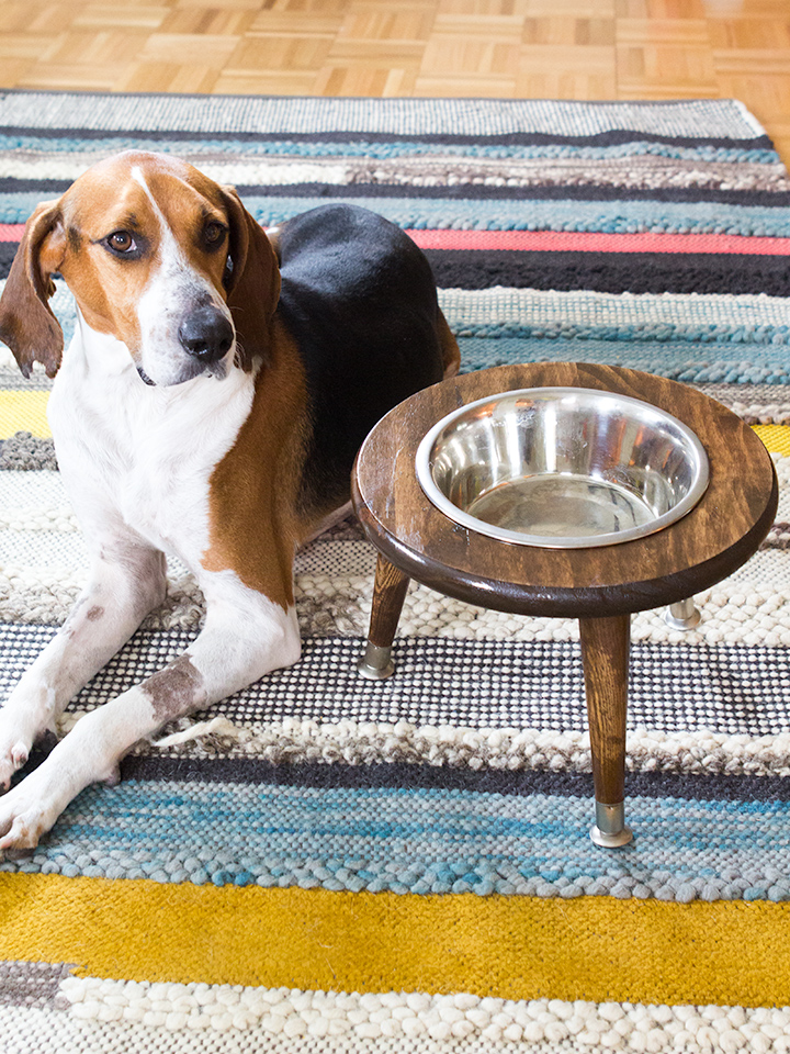 How cute is this mid century raised dog bowl stand! Love the mid century angled legs on this DIY pet bowl stand.