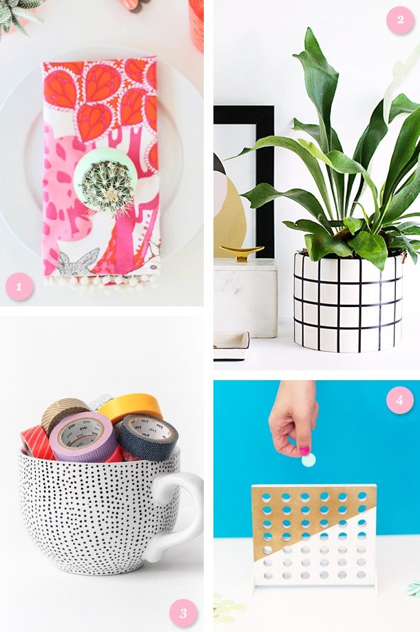Add some color, pattern and fun to your home with one of these easy to do DIY projects! Click through for a link to each tutorial.