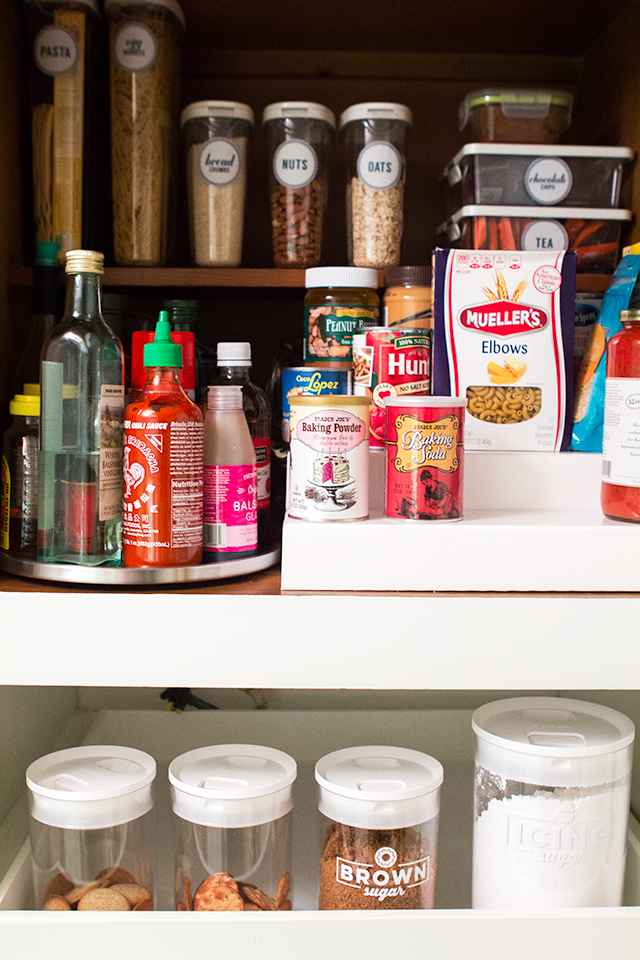 Keep a small pantry organized by clearly labeling everything and making items accessible. Click through for more organization tips.