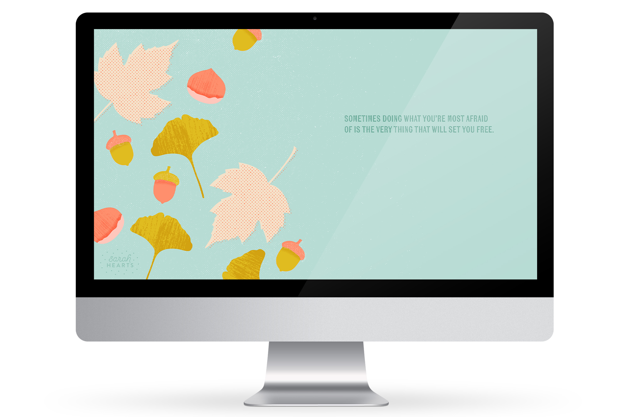 Add some inspiration to your computer, phone and tablet with this free fall inspired wallpaper by Sarah Hearts.