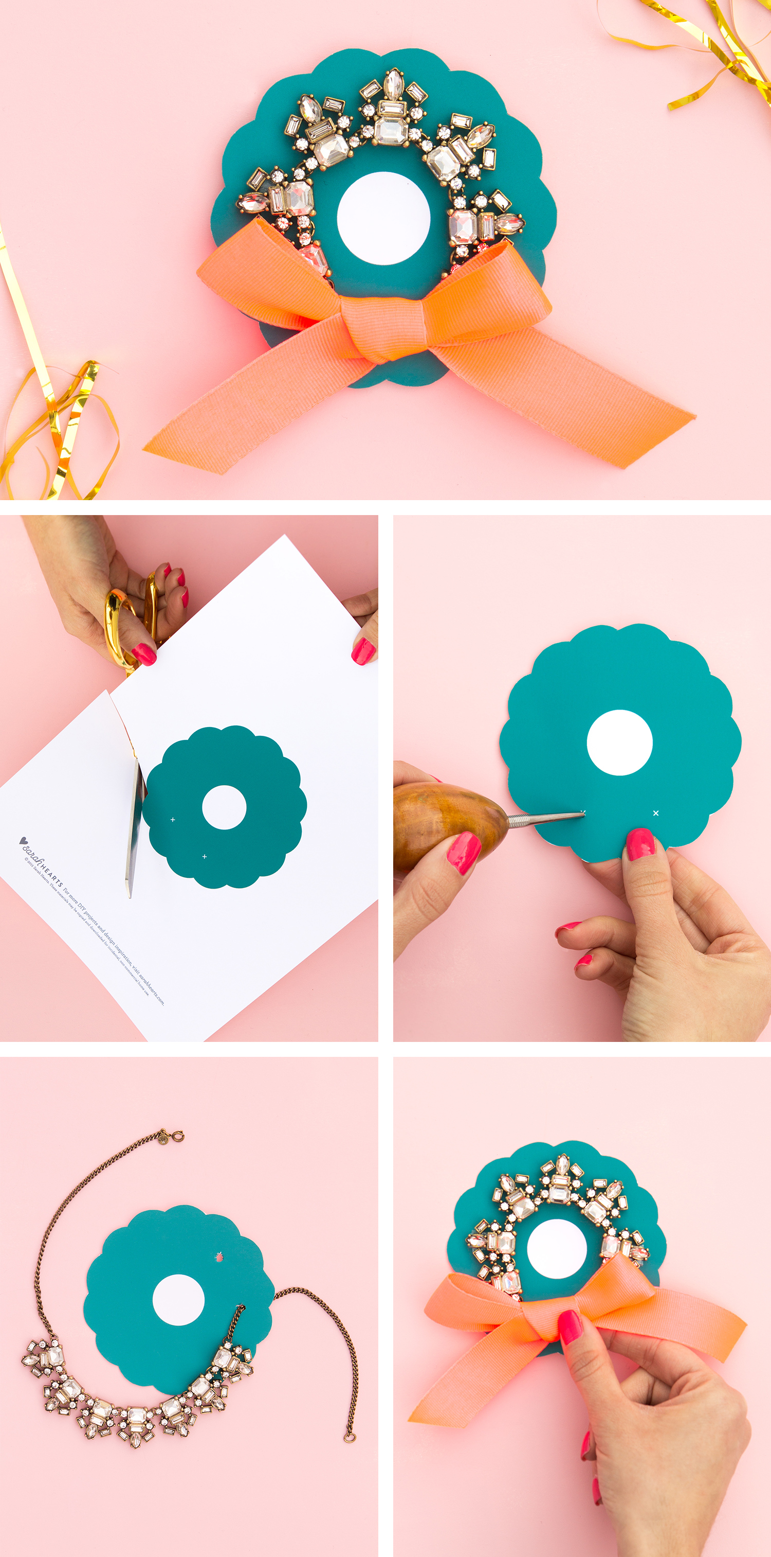 Give a pretty statement necklace in a wreath! (Click through to download the free printable template)