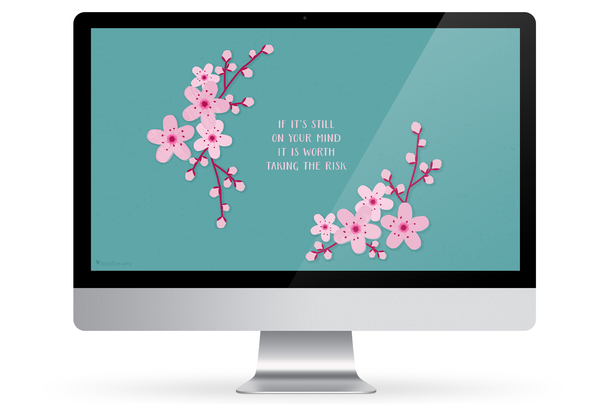 Add some beauty to your computer, phone or tablet with this inspiring, free cherry blossom wallpaper!