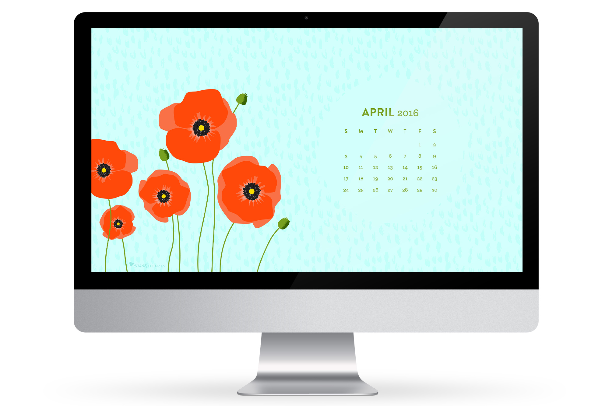 Add some fresh picked poppy flowers to your computer, phone or tablet with this free April 2016 calendar wallpaper.