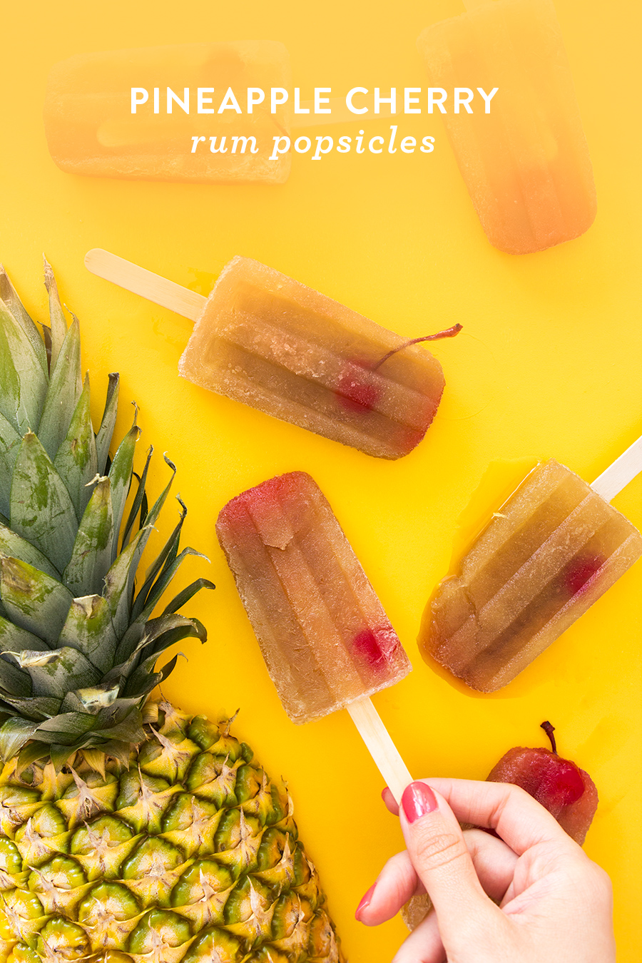 The Mary Pickford cocktail pops are sure to a hit! Serve this frozen version of a classic tropical cocktail at your next summer party!