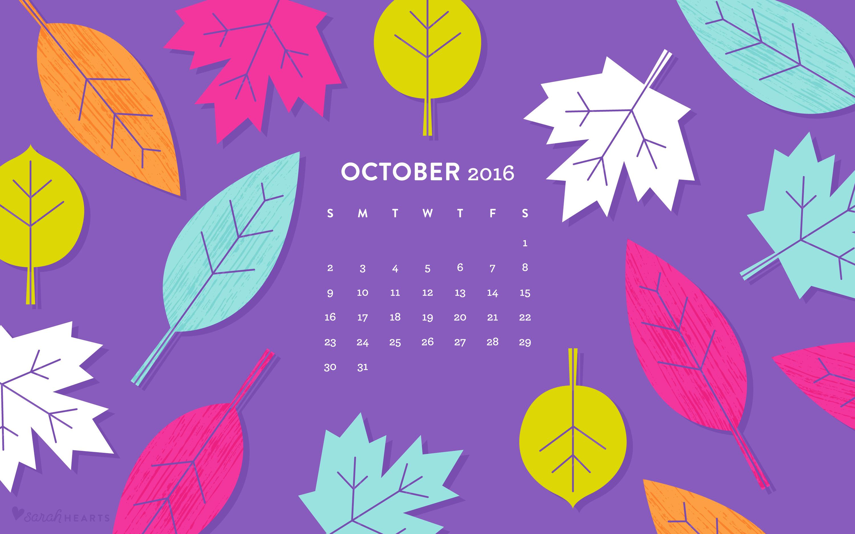 Fall Pumpkin Computer Wallpaper October 2016 Fall Leaves Calendar Wallpapers Sarah Hearts