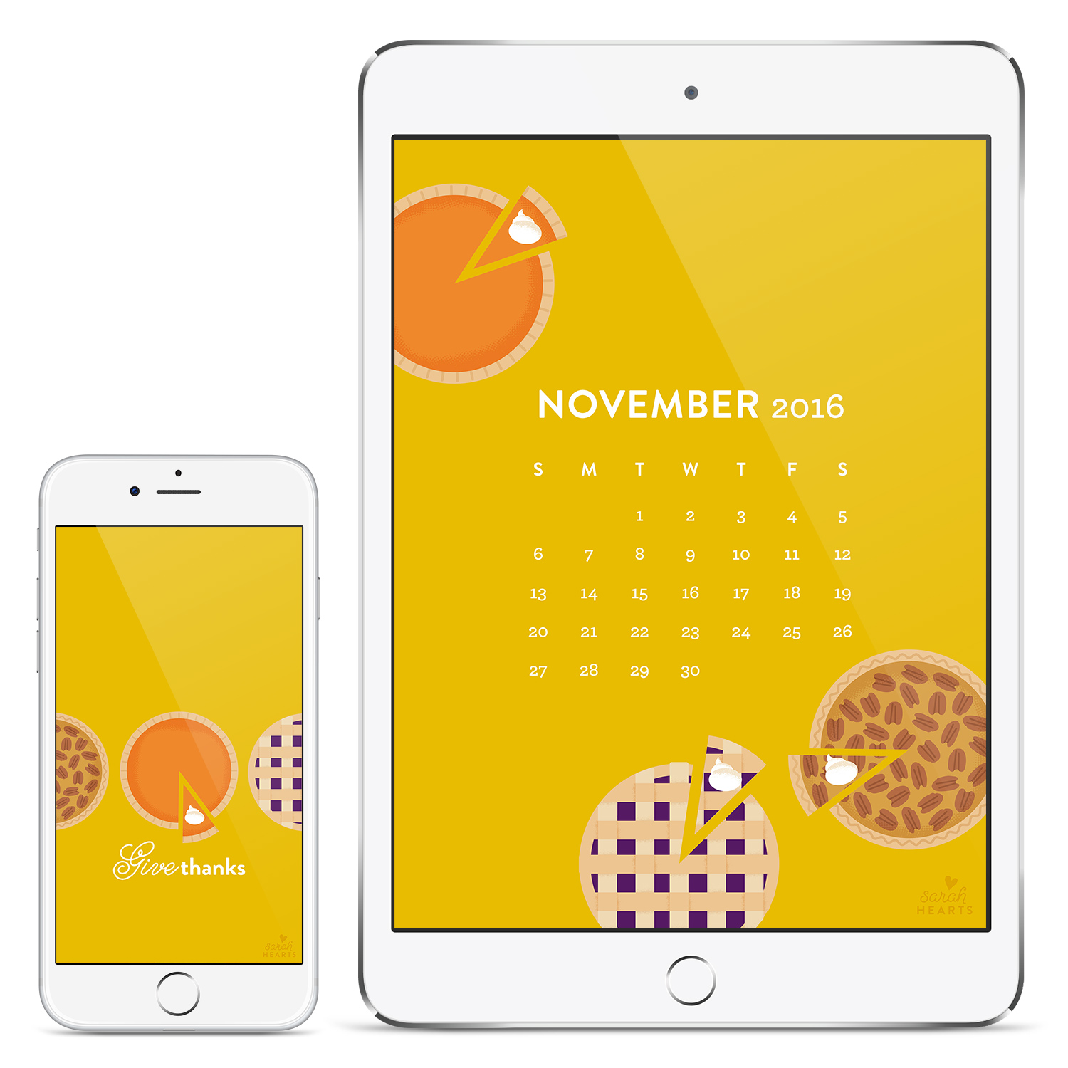 You'll never forget what month it is with this cute pie wallpaper with a November 2016 calendar by Sarah Hearts