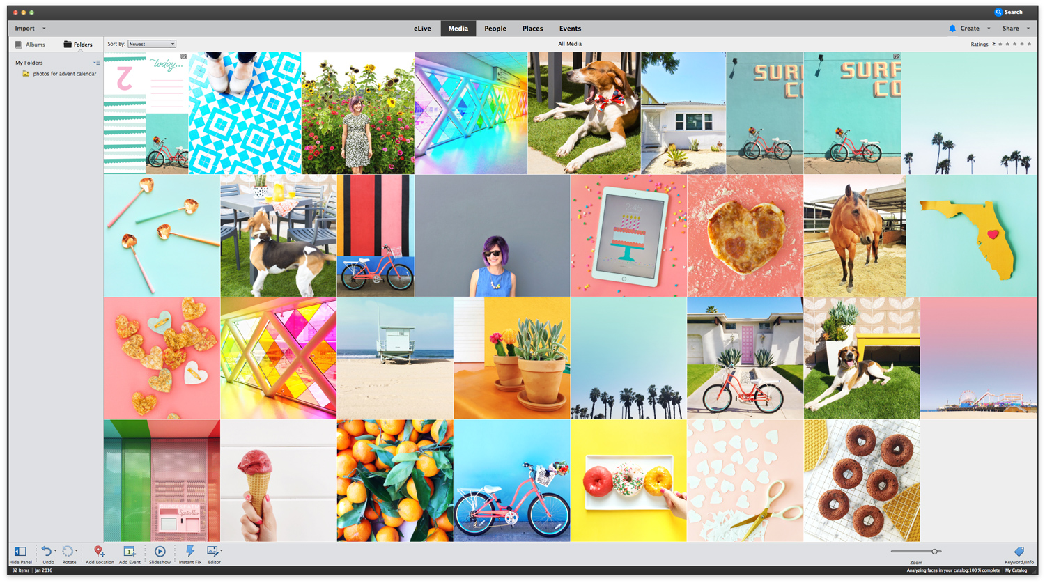 Use the Adobe Elements 15 Organizer to sort, label, and tag your photos.