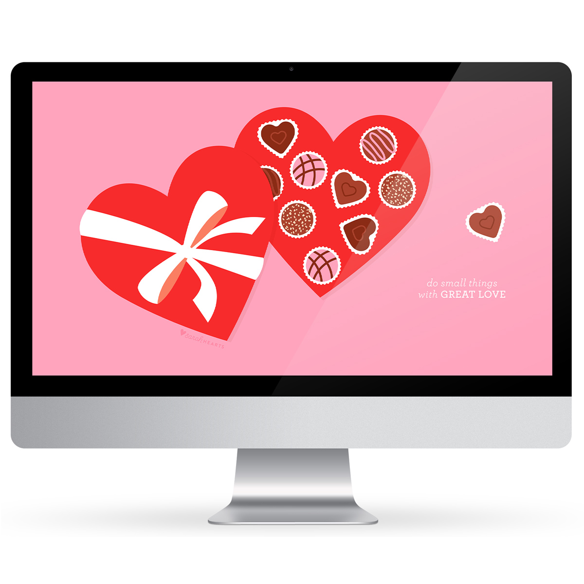 Show your computer, phone and tablet some love this season with this free Valentine's Day heart chocolate box wallpaper!