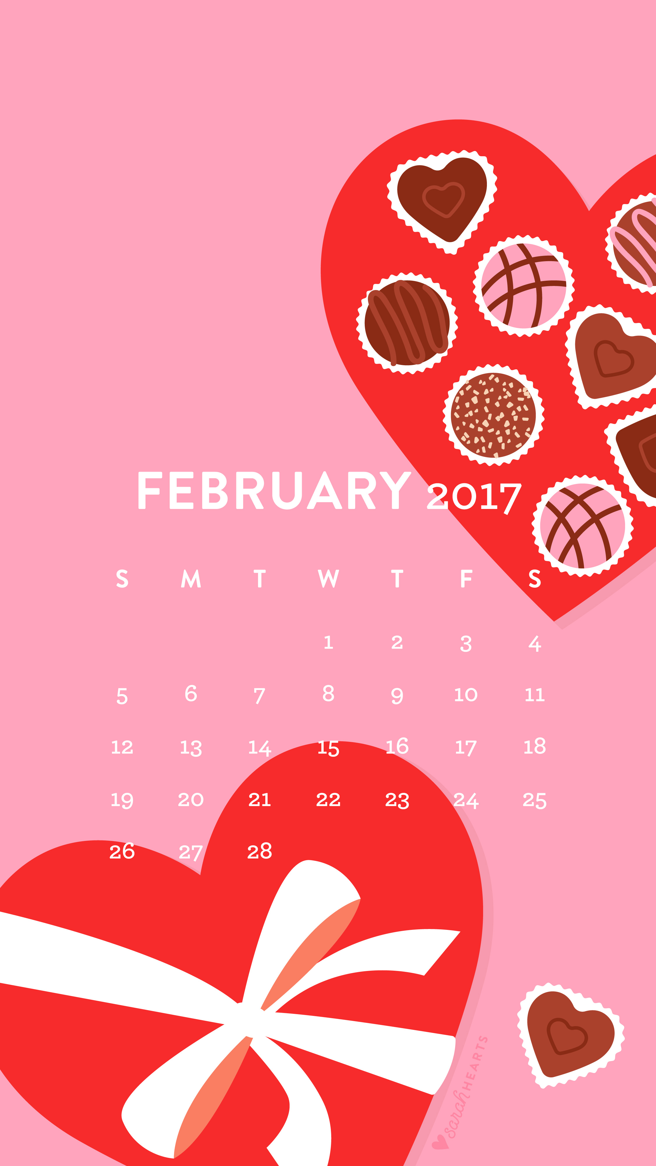 Free Apple Wallpapers For Iphone Valentines February 2017 Calendar Wallpaper Sarah Hearts