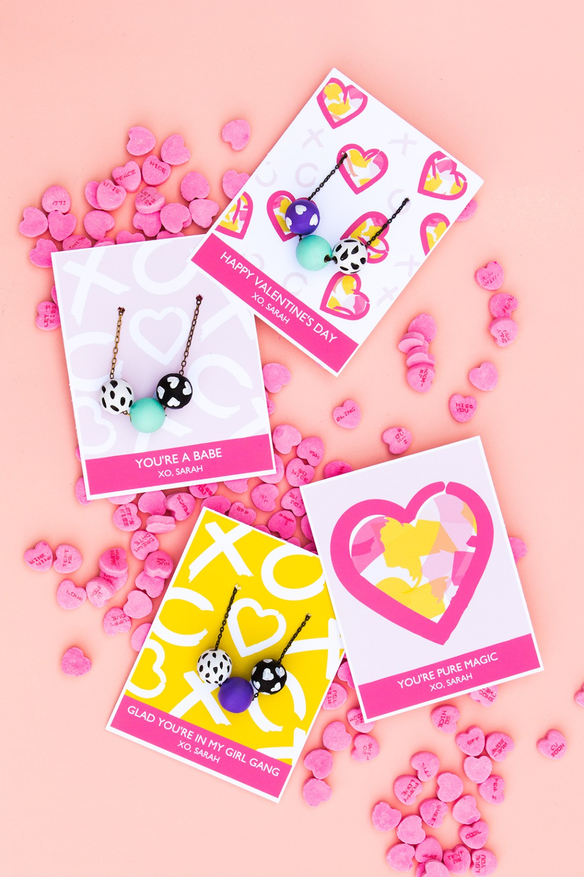 DIY a pretty necklace for your BFF and display it on these adorable free printable valentines day cards. The text is fully customizable too!