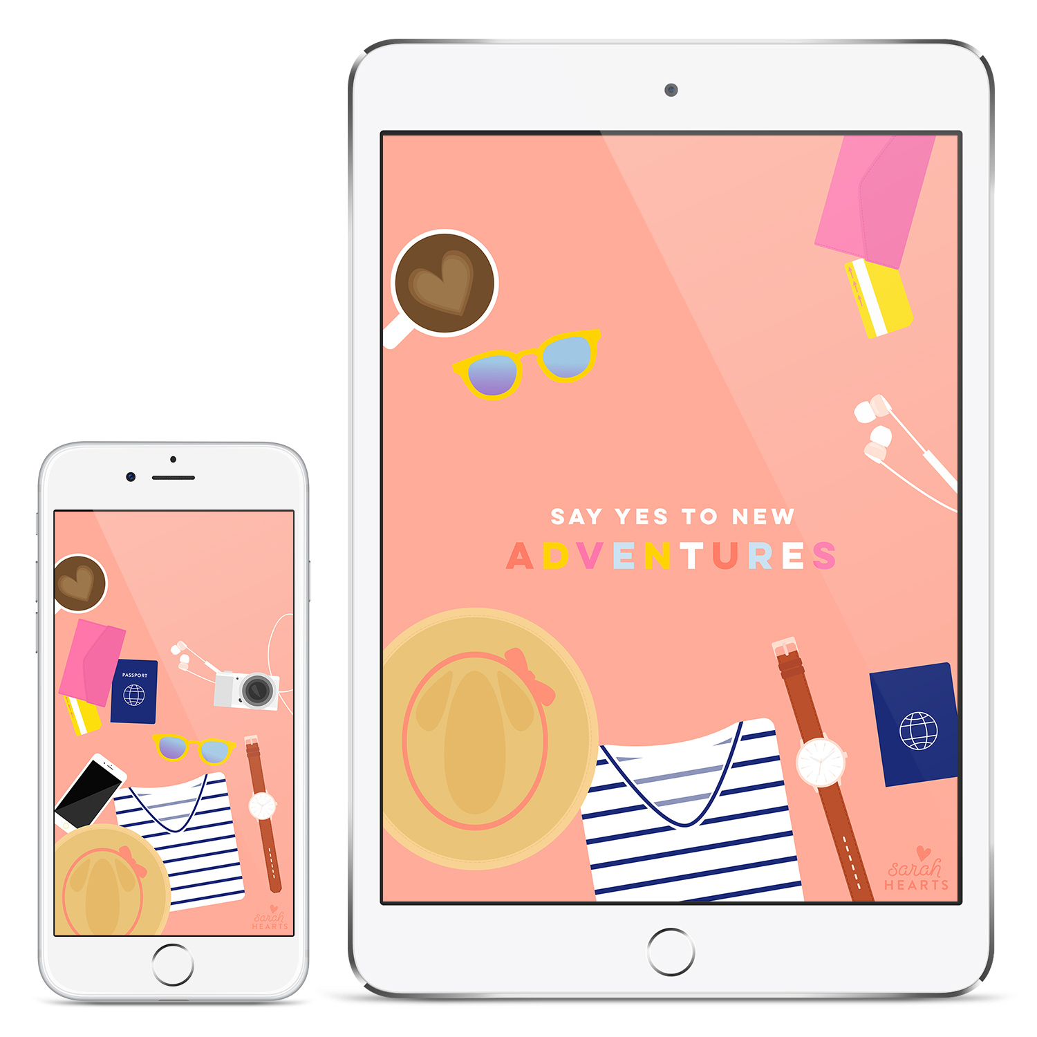 Say yes to new adventures! Download this free travel inspired wallpaper for your phone, computer and tablet today.