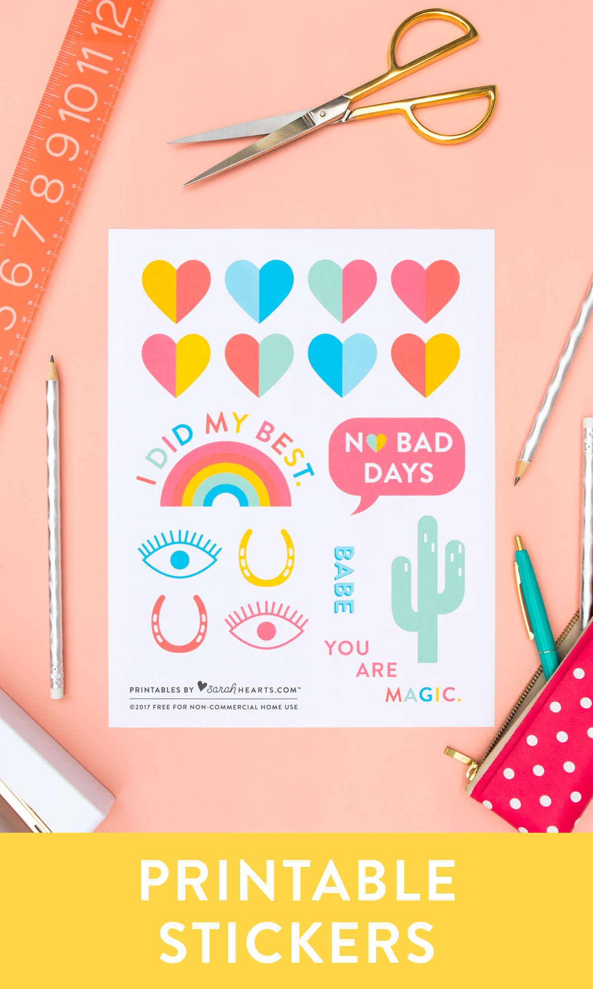 Free printable back to school stickers! Print them on @avery white, clear or metallic sticker paper to customize all your supplies.