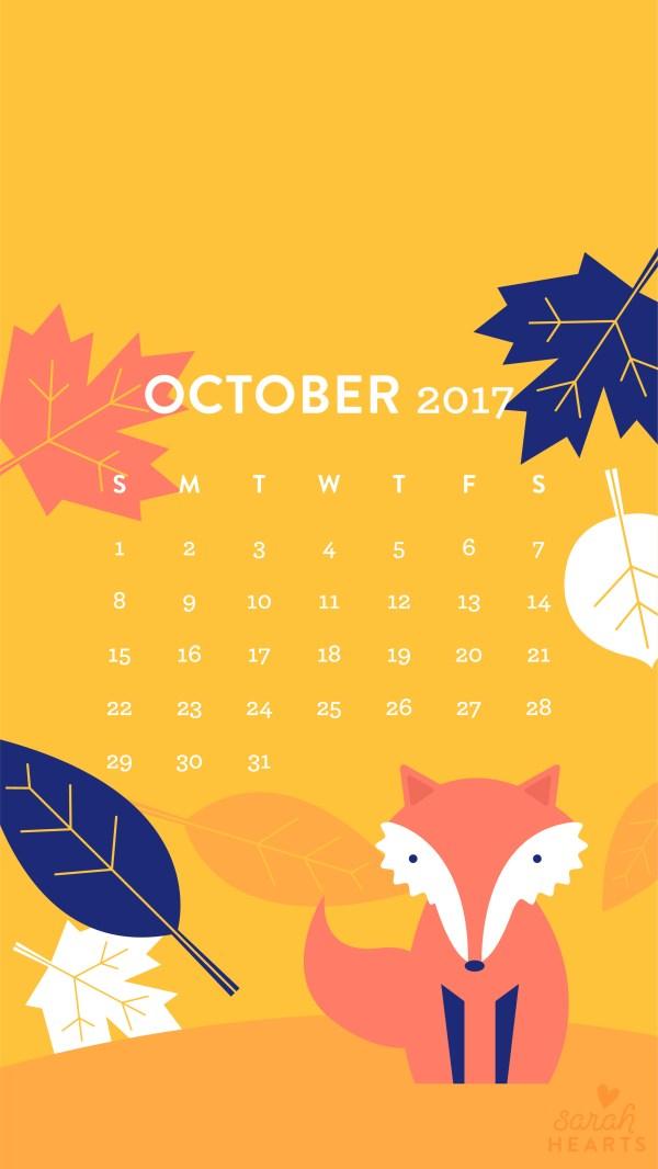 Fall Leaf And Fox October 2017 Calendar Wallpaper - Sarah