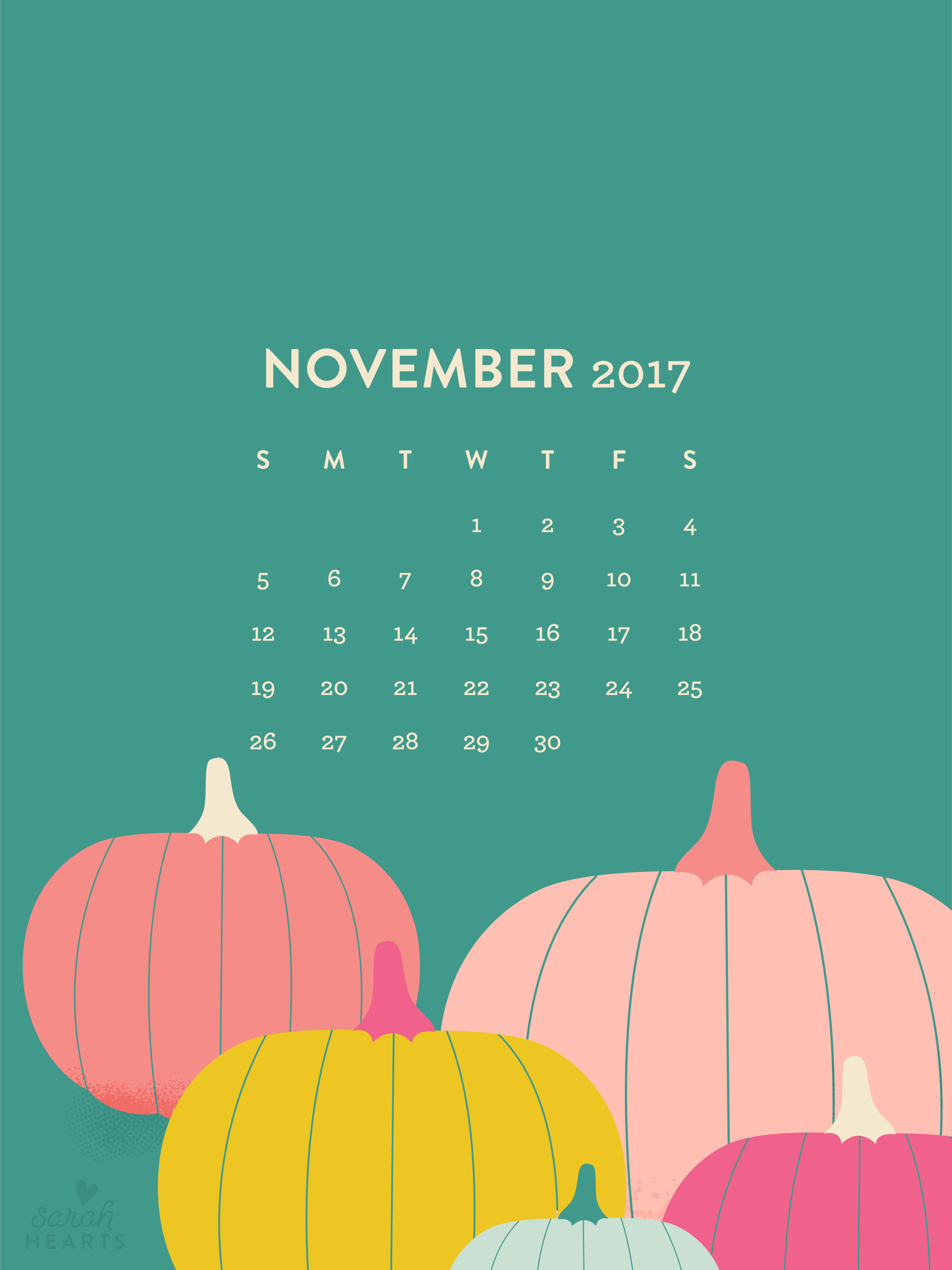 Fall Pumpkin Iphone Wallpaper November 2017 Pumpkin Calendar Wallpaper Sarah Hearts