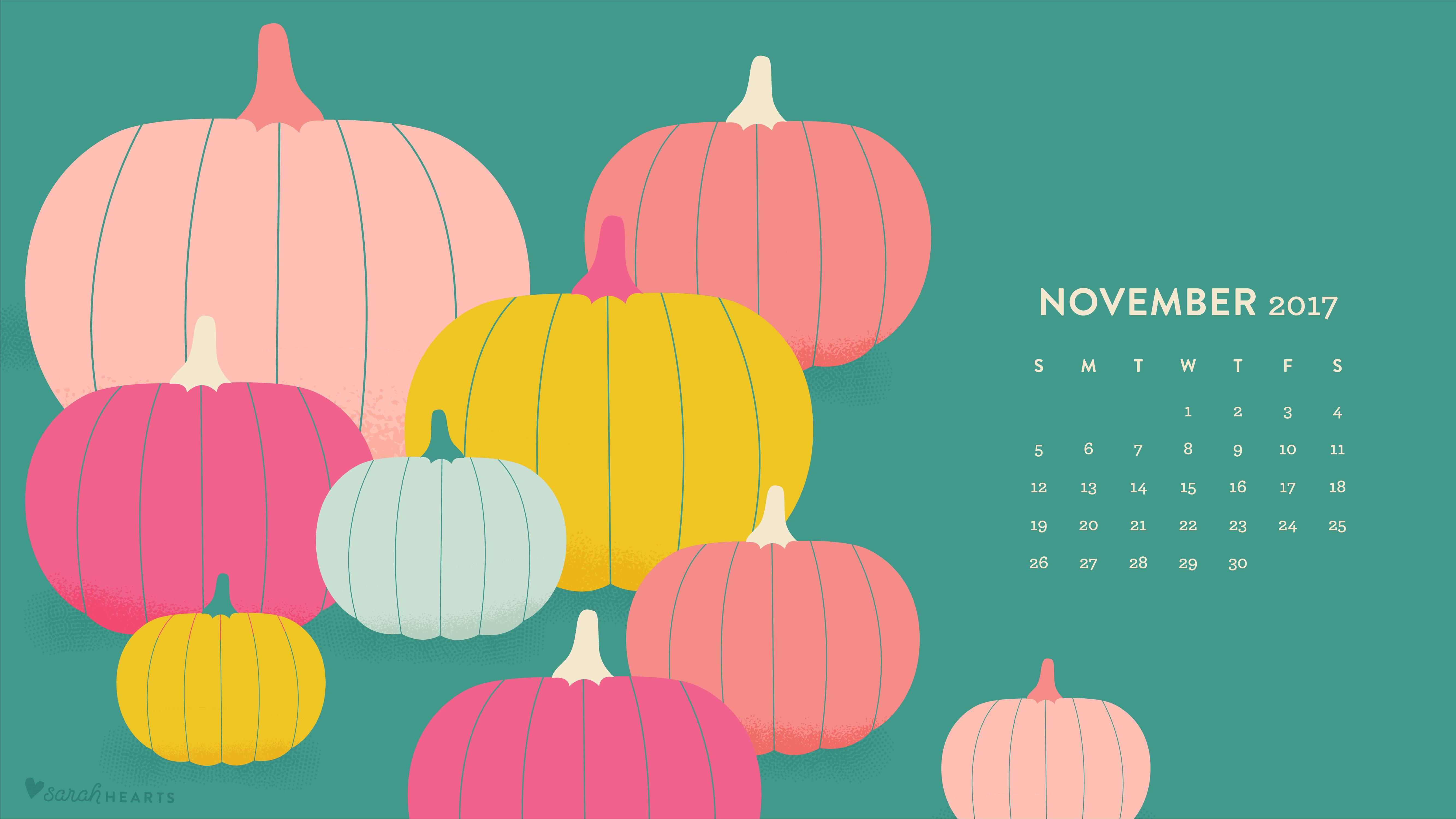 Fall Thanksgiving Desktop Wallpaper November 2017 Pumpkin Calendar Wallpaper Sarah Hearts