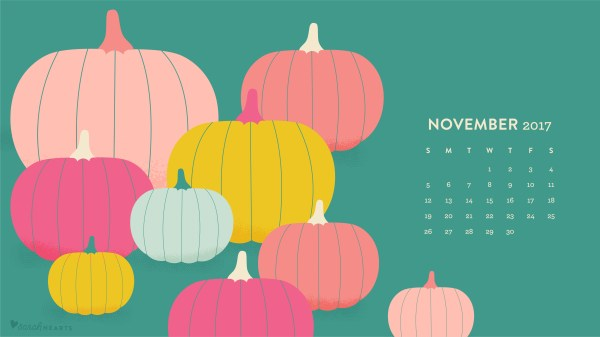 November 2017 Pumpkin Calendar Wallpaper - Sarah Hearts
