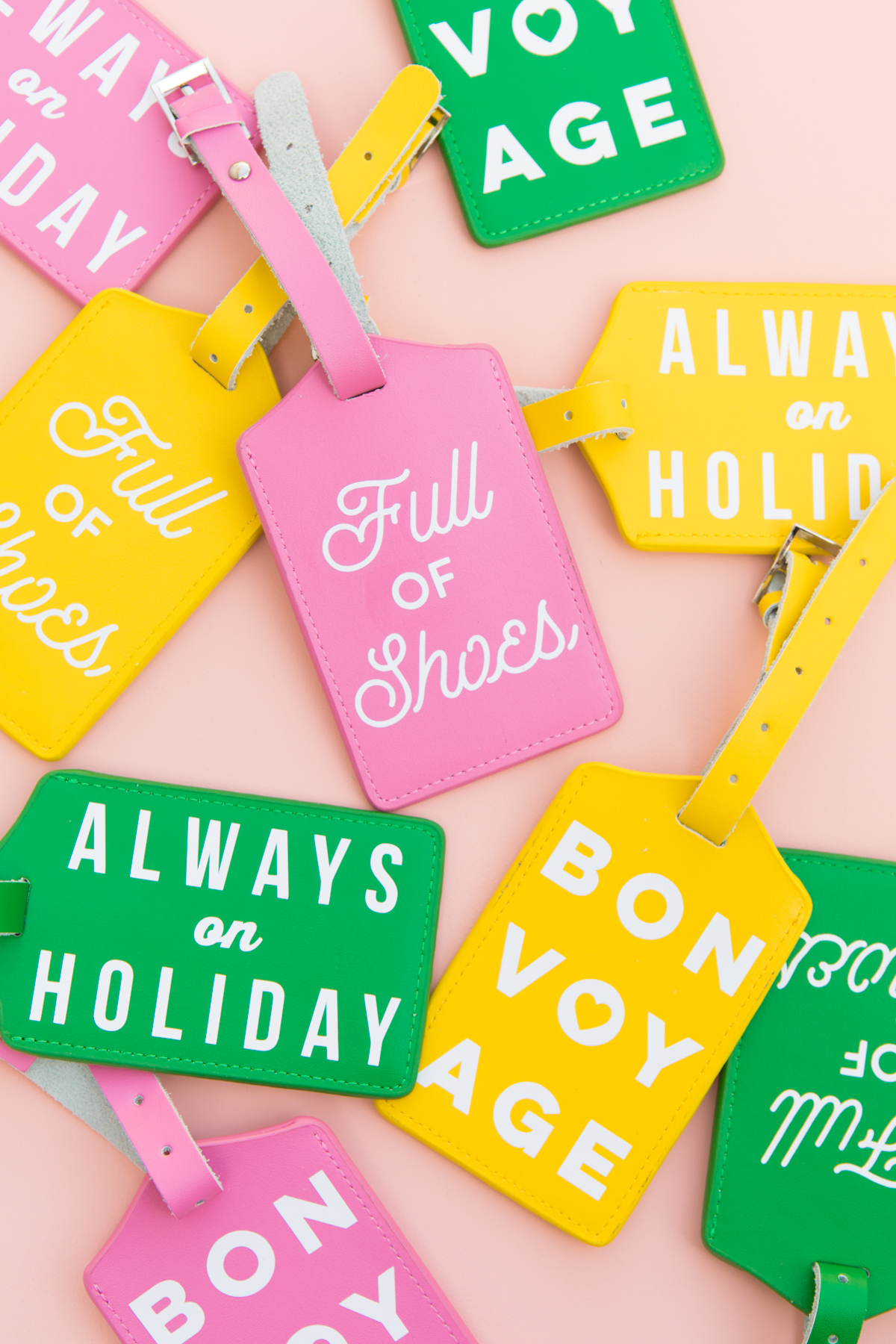 Learn How To Make Your Own Typographic Colorful Luggage Tags Using A Circuit Silhouette Or