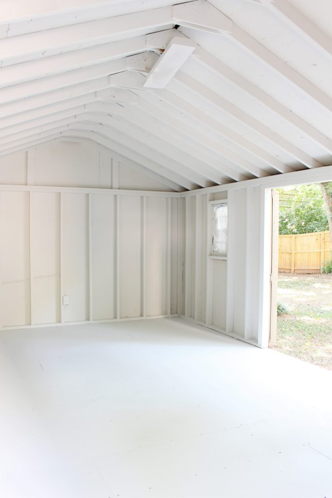 Photo of a painted white garage